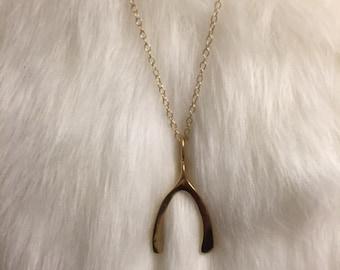 18K Gold Plated Wishbone Pendant- Mary-Kate