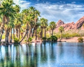 Water Pond at Papago Desert National Park Photo, Color, Modern Outdoor/Nature, Wall Art