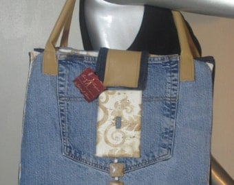 Sew Forgiven denim tote style purse with snap closure and light switch detail 111