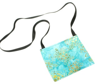 Mini crossbody bag - Aqua Turtle fabric  perfect for travel or a night out!