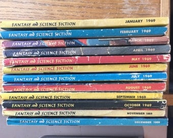Science Fiction The Magazine of Fantasy Qty of 12 Paperback Books 1969