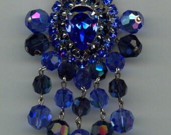 Beautiful Shades of Blue Rhinestone and Crystal Beads Dangle Brooch