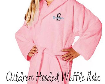 Childrens Waffle Robe, Flower Girl Gift, Personalized Robe, Ring Bearer Gift, Monogrammed Hooded Robe, Getting Ready for the Wedding