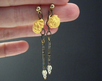 Crochet Pom Pom Dangle Earrings on Gold Studs with Swarovski Crystals and Faceted Glass Beads. Custom Colors Available.