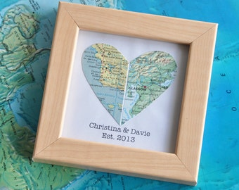 First Wedding Anniversary Wedding Gift for Couple Map Heart Framed with Text
