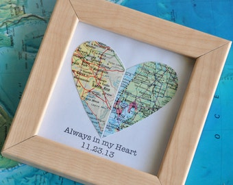 Anniversary Gift Wedding Gift for Couple Gift for Bride Gift for Groom Map Heart with Custom Text Quote