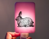 Bunny Nightlight on Lilac and Pink Fused Glass Night Light - Gift for Baby Shower - Woodland Animal -  Easter Bunny Rabbit Lavender