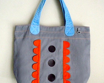 ON SALE - Tote Bag - Forest Garden Tote (Gray Orange)
