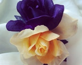 Double rose violet purple and cream hair flower