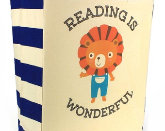 Reading is Wonderful LION enthusiastic CUTE Library Book Tote