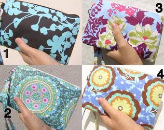 Wedding Clutch 2 pockets,medium,wristlet,sky blue,purple,flowers,discount plan set, wristlet, cotton, zipper