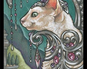 Bejeweled Cat 59 Art Print-Size-2.5x3.5, 5x7 or 8x10 In., Devon Cornish Rex Spynx Fantasy White Feline Anthro Art Nouveau Natalie Ewert