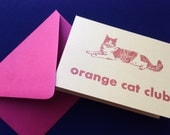 Letterpress orange cat club card