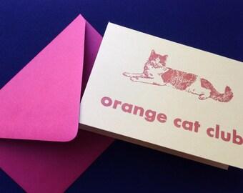 Letterpress orange cat club card