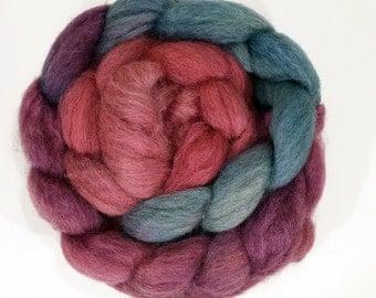 Handdyed Masham Wool Roving - Tumbler - blue, purple, fuschia, pink