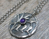 Bluebells - Hyacinthoides Non-Scripta botanical garden necklace ... recycled fine silver bluebells pendant with amethyst