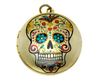 Photo Locket, Image Locket, Art Locket, Picture Locket, Brass Locket - SUGARSKULL - Day of the Dead