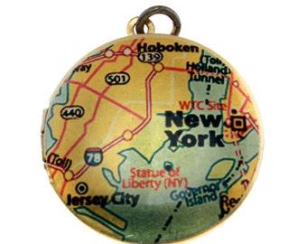 Photo Locket, Image Locket, Art Locket, Picture Locket, Brass Locket - New York Map