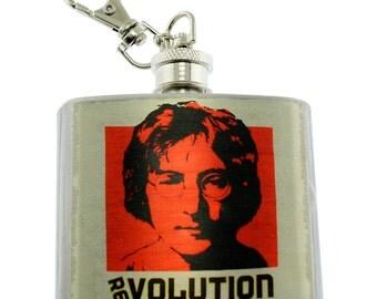 Photo Flask, Art Flask, Liquor Flask, 2 oz. HIp Flask - Handmade in NYC - JOHN LENNON Revolution - Sealed in Resin
