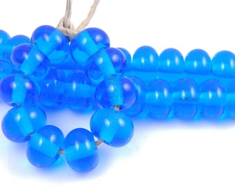 036 Transparent Dark Aqua Spacers - Handmade Artisan Lampwork Glass Beads 5mmx9mm - SRA (Set of 10 Spacer Beads)