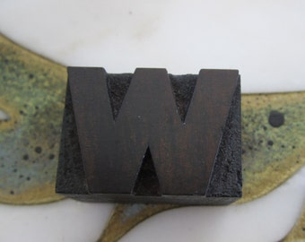 Letter W Antique Letterpress Wood Type Printers Block