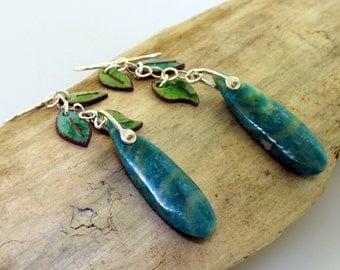 Leaf Earrings, green enamel with Russian amazonite gemstones, earrings by Kathryn Riechert