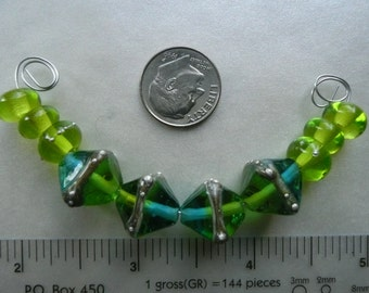 Lime Green and Ocean Blue Artisan Made Lampwork Glass Bicone Bead Set