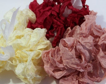 Petal Pink, Cream, Fuchsia Seam Binding- Plain or Scrunched, 15 yards, Packaging, Scrapbooking, Shabby Pretty Embellishment