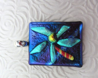 Blue flower fused dichroic glass pendant  fused glass jewelry 925 Sterling silver rollover bail texture relief aqua glass jewelry abstract