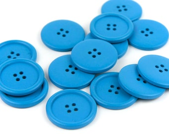 10 Large Blue Wood Buttons 4cm 40mm 1.625 inches - 4 holes Big Jumbo