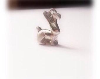 Fine silver rabbit sculptured charm