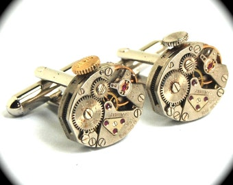 Steampunk Watch Cuff Links Featuring STEMMED PETITE Oval Vintage Watch Movements Cuff Links Ruby Jeweled MATCHED