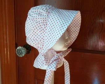 Baby Girls Sun Hat, Red and White Polka Dot Bonnet, 12 to 24 Months