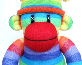 Rainbow Sock Monkey (made to order)