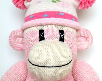 Pretty pink traditional style Sock Monkey with a pretty pom pom hat (made to order)