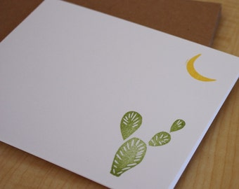 Desert Evening - Cactus and Moon Cards - Handmade Stationery - Hand Stamped Note Cards - Set of 6