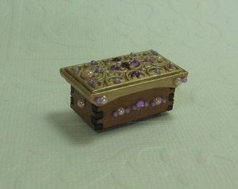 Dollhouse Miniature Rose Gold Filigree Jewelry Box/Chest