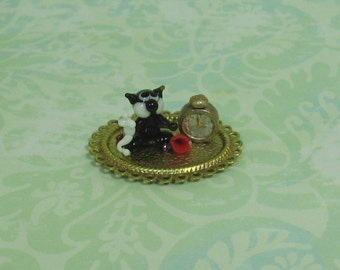 Dollhouse Miniature Oval Tray with Glass Cat & Clock