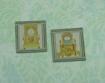 Dollhouse Miniature Pair of Framed Clock Prints