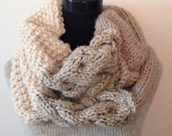 Knitted Cable Cowl, Taupe, Ivory and Oatmeal Grande Cowl Chunky Wrap, Shawl