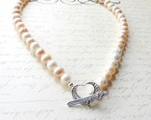 Blush Pearl Mix Necklace - Sterling Silver Heart Toggle Clasp - Bridal Wedding Jewelry - 16 Inch Length Necklace