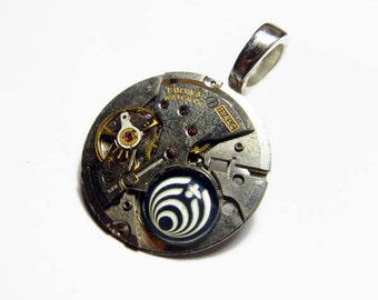 Steampunk BASS NECTAR Basslights Vintage Old Watch Altered Mixed Media Slide Pendant with Necklace Design 1