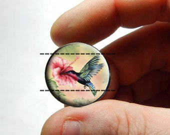 Glass Cabochon - Hummingbird - for Jewelry and Pendant Making