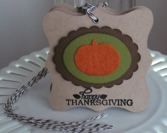 Happy Thanksgiving felt pumpkin tags
