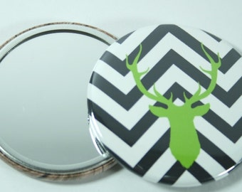 chevron with a deer pocket mirror for your baby shower