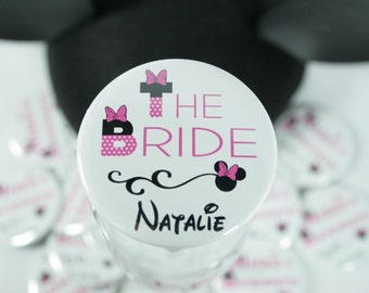 Disney Birthday Party Buttons, Disney Bachelorette Party Button Name Tags with Minne Mouse