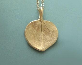 14k Gold Leaf Necklace - Tiny Aspen Leaf