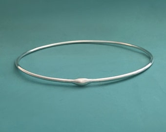 Rain Bangle Bracelet in Sterling Silver - Water Droplet - Modern - Organic - Recycled Sterling Silver