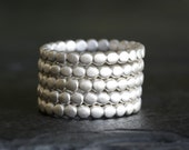 sterling silver beaded pebble band, beaded ring, eco friendly, wedding band, recycled metal, handmade