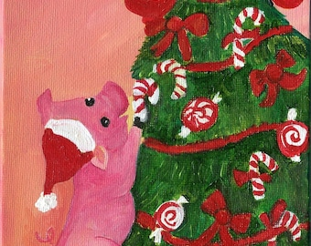 Pig painting, Pig wearing Santa Hat dances around Christmas tree painting, 5 x 7 canvas panel,  holiday decor, acrylic painting canvas art